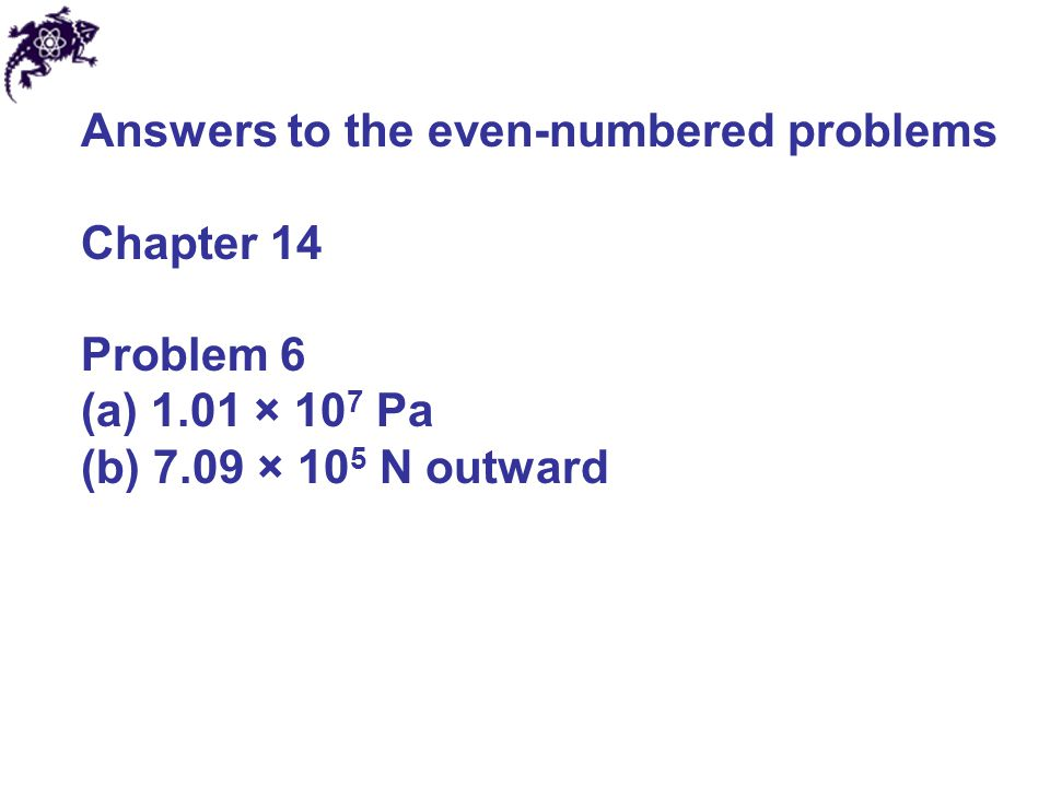 Answers to the even-numbered problems Chapter 14 Problem 8 225 N