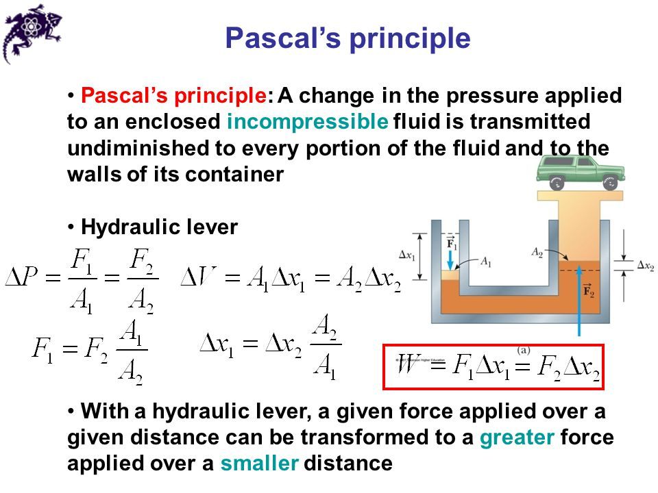 Archimedes' principle Buoyant force: For imaginary void in a fluid p at the bottom > p at the top Archimedes' principle: when a body is submerged in a fluid, a buoyant force from the surrounding fluid acts on the body.