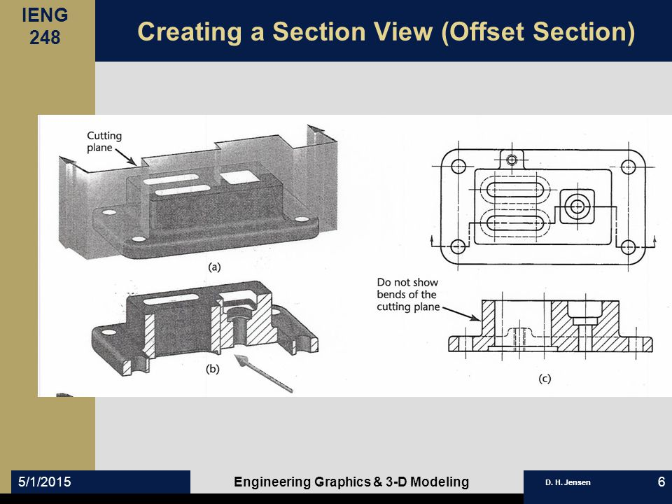 IENG 248 D. H. Jensen 5/1/2015Engineering Graphics & 3-D Modeling7 Partial Section Views