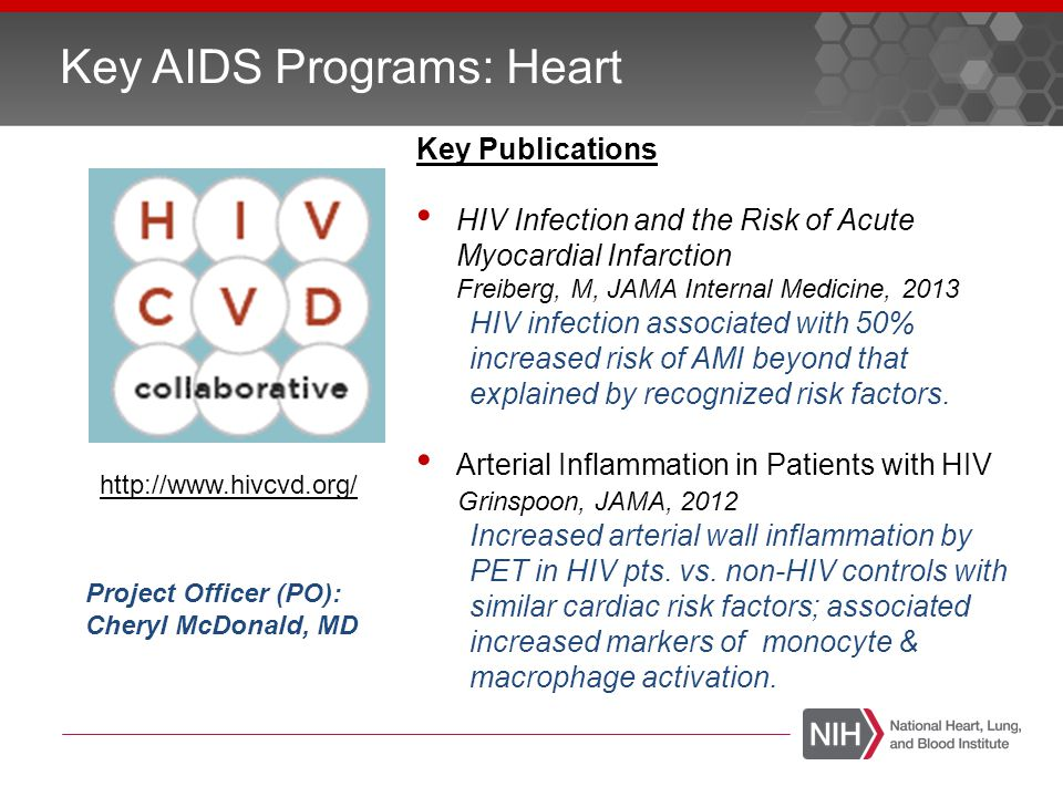 Key Large AIDS Programs: Lung ProgramKey Publications Longitudinal Studies of HIV- Associated Lung Infections and Complications PO: Hannah Peavy, MD Contributors to diffusion impairment in HIV-infected persons Gingo, MR, Eur Respir J, 2013 Lung HIV Microbiome Project PO: Sandra Colombini-Hatch, MD Widespread Colonization of the Lung by T.