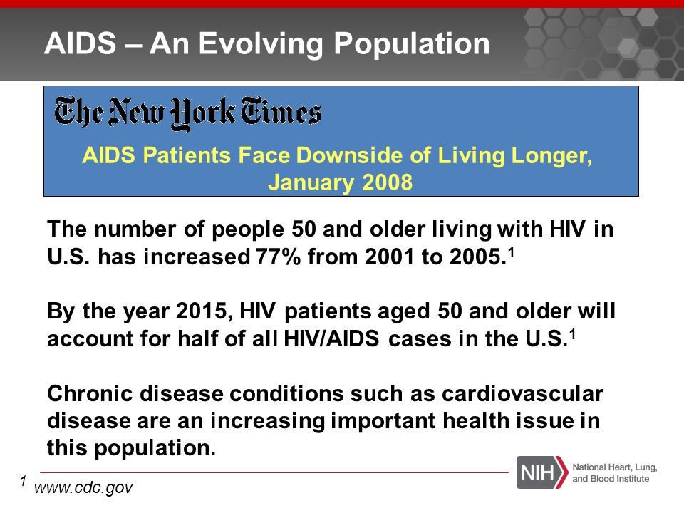 Many Age-Associated Diseases More Common in Treated HIV Disease Than in Age-Matched Controls Multiple factors likely explain this increased risk, including co-morbid conditions and antiretroviral drug toxicity Cardiovascular disease COPD Anemia Liver failure Kidney failure Cognitive decline Frailty Immune system Cancer (non-AIDS) Bone fractures/osteopenia Chronic inflammation may underlie many of these conditions