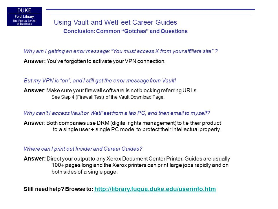 Ford Library Career Tools THE END Viewing and Downloading Vault Guides: Using Adobe Digital Editions reference-librarians@fuqua.duke.edu