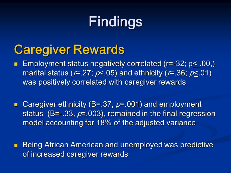 Discussion Predominantly female sample Predominantly female sample Caregivers were younger than typical caregivers Caregivers were younger than typical caregivers Like other caregiving research studies most caregivers were employed full-time Like other caregiving research studies most caregivers were employed full-time Similar to previous research, most (53%) caregivers were married Similar to previous research, most (53%) caregivers were married Many caregivers were spouses (45%) and children (21%) Many caregivers were spouses (45%) and children (21%) Ethnic minorities represented 30% of the sample Ethnic minorities represented 30% of the sample