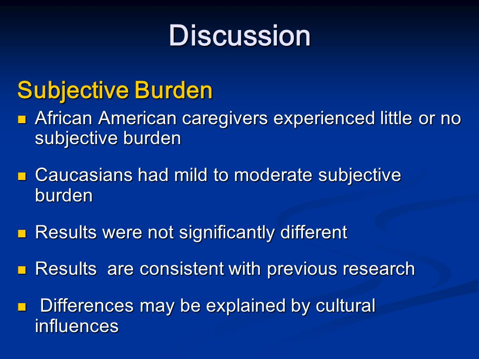 Discussion Predictors of Mental Health and Burden Consistent predictors of depressive symptoms and subjective burden were worried about children and income decrease Consistent predictors of depressive symptoms and subjective burden were worried about children and income decrease Caregivers who were worried about their children had higher levels of depressive symptoms Caregivers who were worried about their children had higher levels of depressive symptoms Parental in addition to caregiving responsibilities cause further challenges that could explain findings Parental in addition to caregiving responsibilities cause further challenges that could explain findings