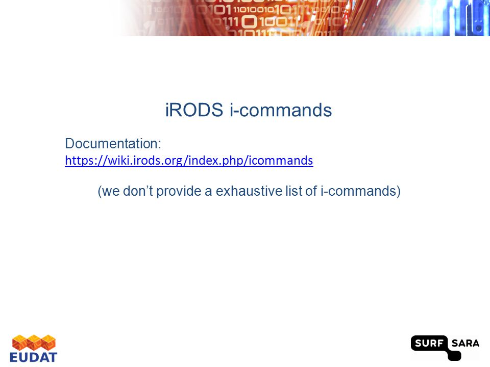 iRODS control Execute./irodsctl in the folder iRODS Restarting, starting and stopping the iRODS and iCAT server with = restart, start, stop Restarting, starting and stopping only the iRODS server with = irestart, istart, istop Initialise an account and log in with iinit 16