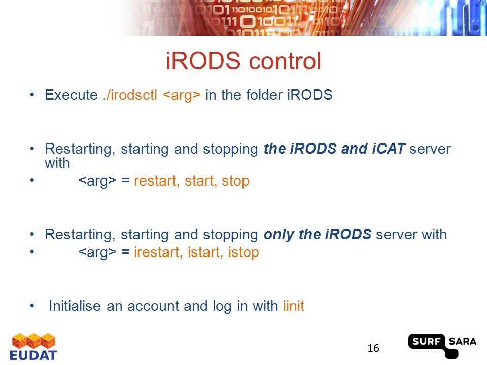 The icommands client icommands are automatically installed when you install the iRODS server Users must install the client software to connect to an iRODS server Categories: Informational UNIX and FTP like Metadata Functional