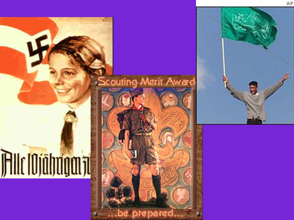 Creed to believe Community to belong to Call to live out Hope to hold onto Hitler youth God as Hitler German superiority Leadership schools Nazi soldier (to save Germany) Glorious future of Germany Boy Scouts God and country Boy Scout Law Scout troop Citizen (to lead society) Pride and respect of self and country Hamas God as Allah Palestinian unity Settlement, cells Martyr (to glorify Allah) Reunified Palestinian land, entry into heaven Youth ministry?