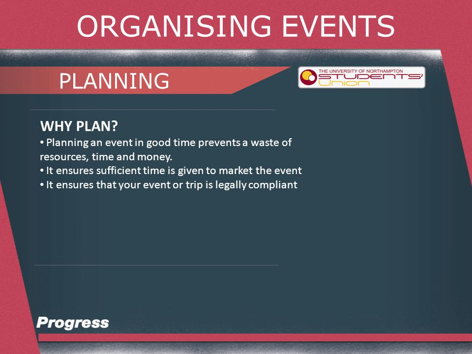 ORGANISING EVENTS PLANNING PLANNING: Who? What? How? Where? When?