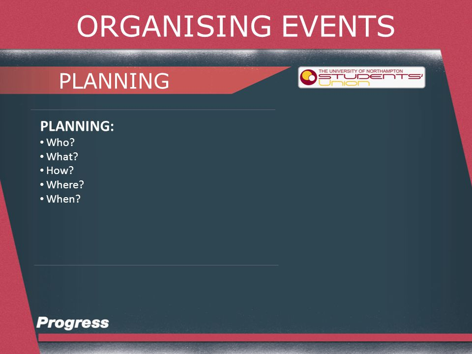 ORGANISING EVENTS PLANNING PLANNING YOUR EVENT: Planning Document Profit and Loss Risk Assessment