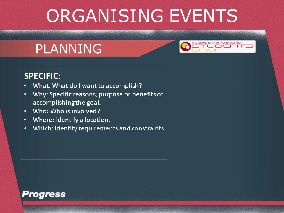ORGANISING EVENTS PLANNING MEASURABLE: Criteria for measuring progress toward the attainment of the goal.