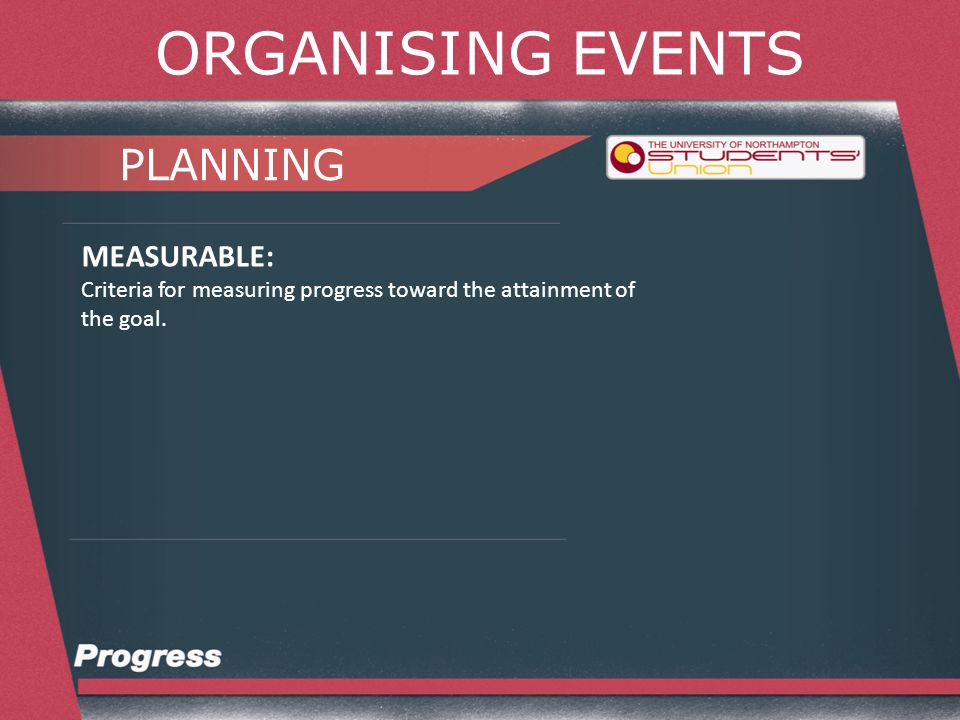 ORGANISING EVENTS PLANNING ACHIEVABLE: How can the goal be accomplished?