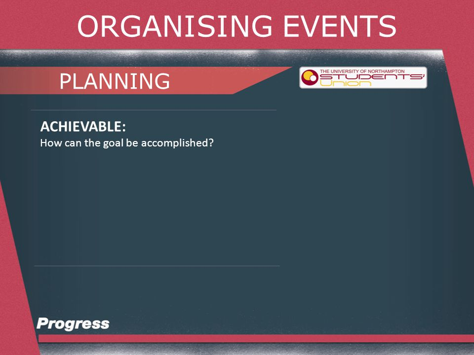 ORGANISING EVENTS PLANNING REALISTIC: Can it be accomplished given resources, budgets and staff?