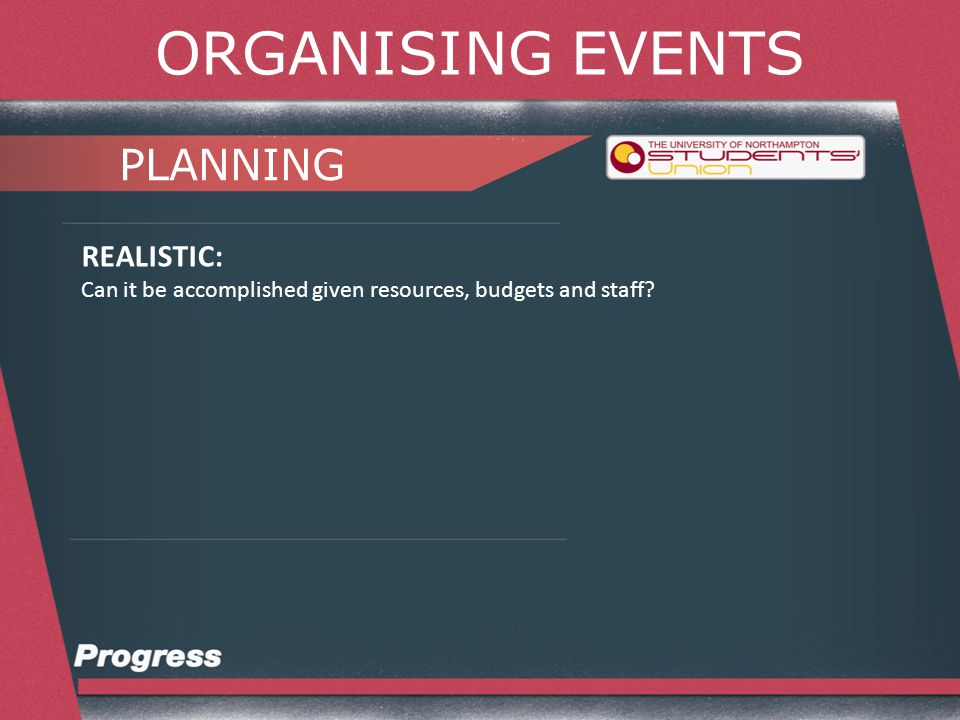 ORGANISING EVENTS PLANNING TIMEBOUND: Over what time scale can the goal be achieved.