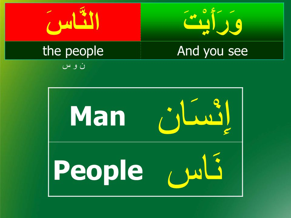 People: from different tribes of Arabia وَرَأَيْتَالنَّاسَ And you seethe people ن و س