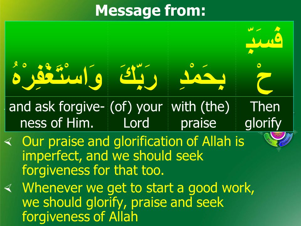 Practice فَسَبِّ حْبِحَمْدِرَبِّكَوَاسْتَغْفِرْهُ Then glorify with (the) praise (of) your Lord and ask forgive- ness of Him.