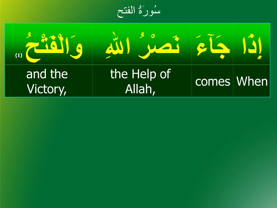 When إِذْ إِذَا جَآءَ نَصْرُ اﷲِ وَالْفَتْحُ ( 1) Whencomes the Help of Allah, and the Victory, 239 454