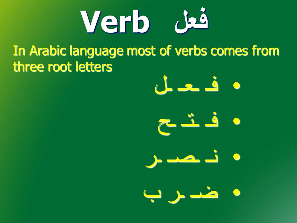 Arabic language has two types of verbs Being done or will be done فِعْل مَاضِي فِعْل مُضَارِع That which is done That which is not done yet