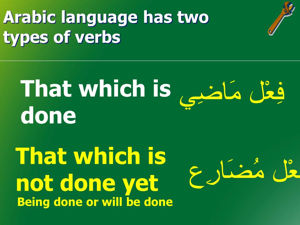 Arabic language has two types of verbs Perfect tense 1.