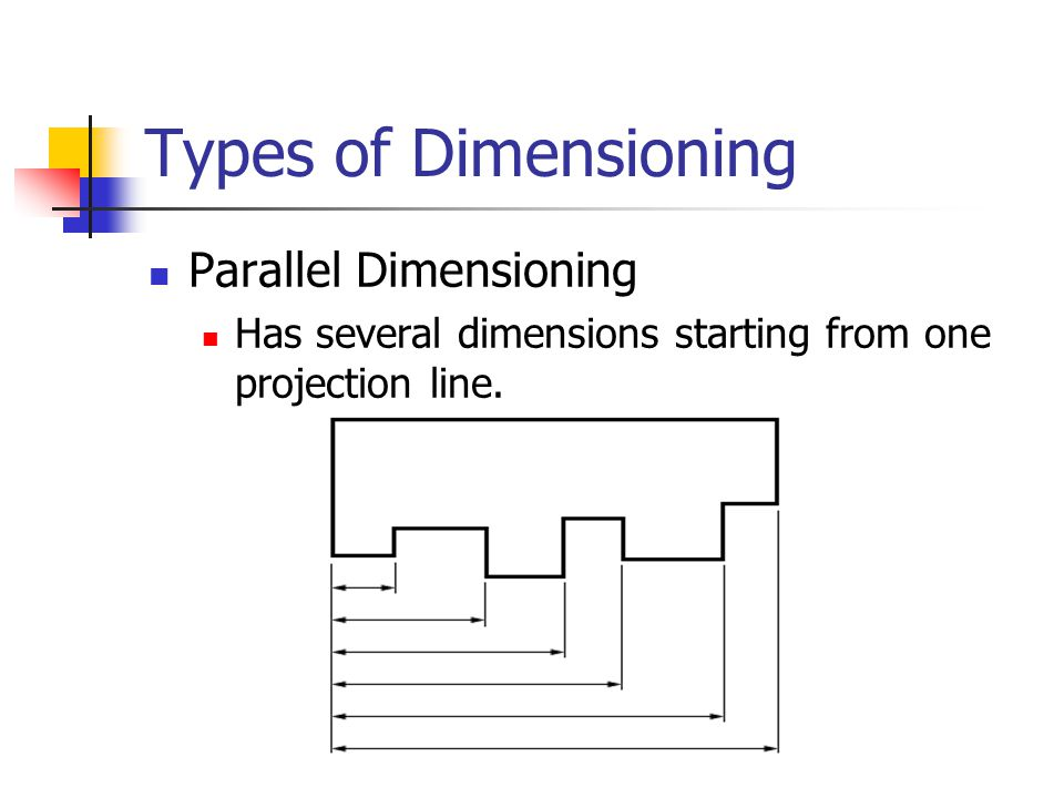 Types of Dimensioning Chain Dimensioning Having the dimensioning start after each previous dimension Chains of dimension should only be used if the function of the object won t be affected by the accumulation of the tolerances.
