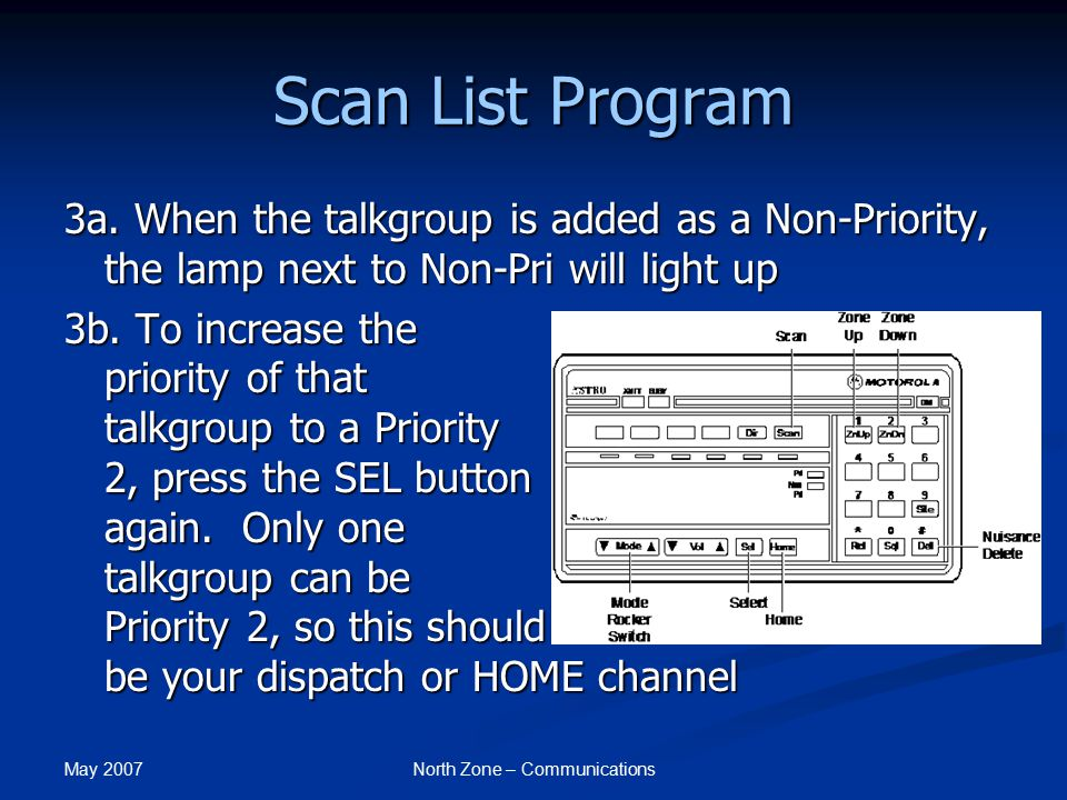 May 2007 North Zone – Communications Scan List Program NOTE: Your radio has been pre-programmed to have whichever talkgroup you are selected to transmit on as your Priority 1 talkgroup.
