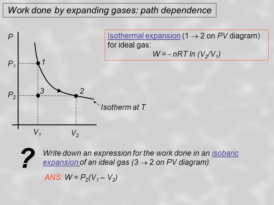 Work done by expanding gases: path dependence P Isotherm at T 1 2 V1V1 V2V2 P2P2 P1P1 3 Isothermal expansion (1  2) for ideal gas:W = - nRT ln (V 2 /V 1 ) Isobaric expansion (3  2) for ideal gas: W = P 2 (V 1 – V 2 ) Write down an expression for the work done in an isochoric process involving an ideal gas (e.g.