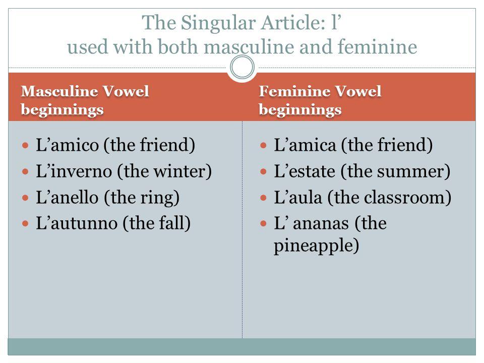 Masculine Feminine Gli  Z: gli zaini (the backpacks)  S +consonant: gli scaffali (the bookcases)  Vowel: gli amici (the friends) I  A consonant: I libri (the books) Le: all plural nouns  Le amiche (the friends)  Le matite (the pencils)  Le cattedre (the desks)  Le aule (the classrooms)  Le gomme (the erasers) Plural Definite Articles