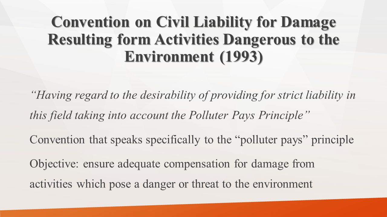 The Revised Treaty of Chaguaramas Article 65 – Environmental protection: Community shall promote measures to ensure [among others ] the principle that the polluter pays