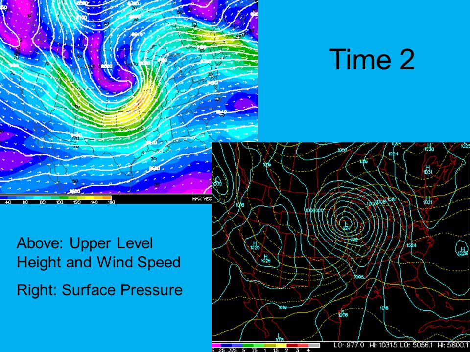 Time 2 Above: Upper Level Height and Wind Speed Right: Surface Pressure