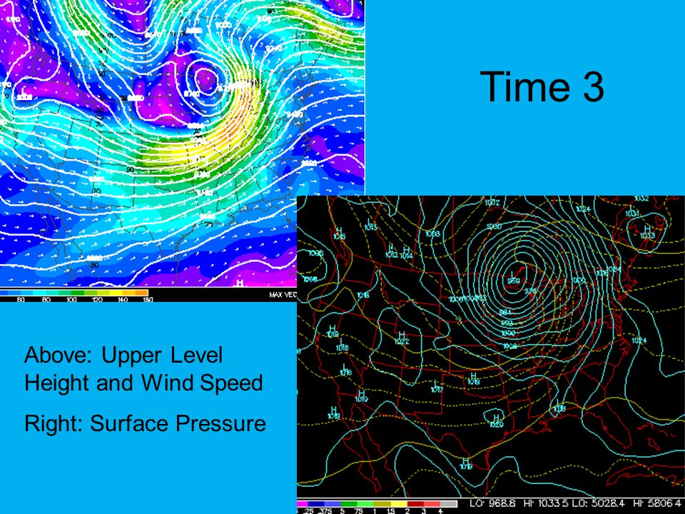 Time 3 Above: Upper Level Height and Wind Speed Right: Surface Pressure