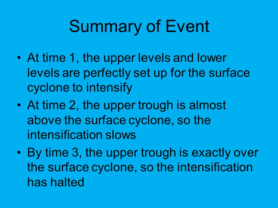 Cyclone Decay Recall that due to friction, air blows across isobars near the surface This means that the air is always converging at the center of low pressure areas Therefore, unless there is at least enough divergence at upper levels to counteract the convergence at low levels, the surface cyclone will weaken because more mass will be added to the air column This will force the surface pressure to rise