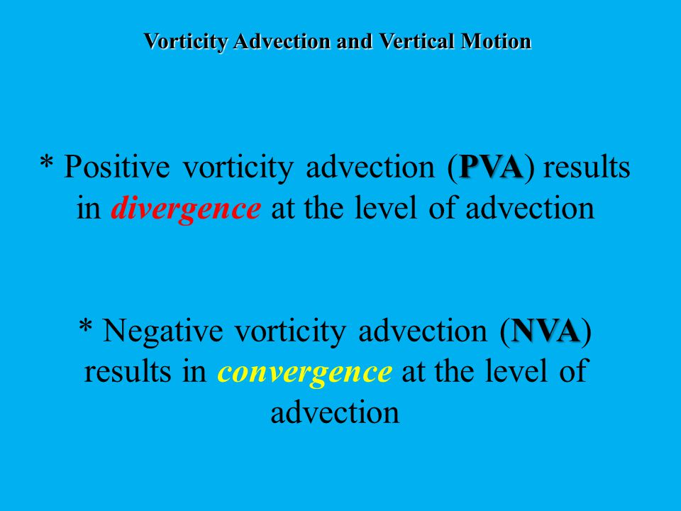 Vorticity Advection and Vertical Motion Remember that convergence at upper levels is associated with downward vertical motion (subsidence), and divergence at upper levels is associated with upward vertical motion (ascent).