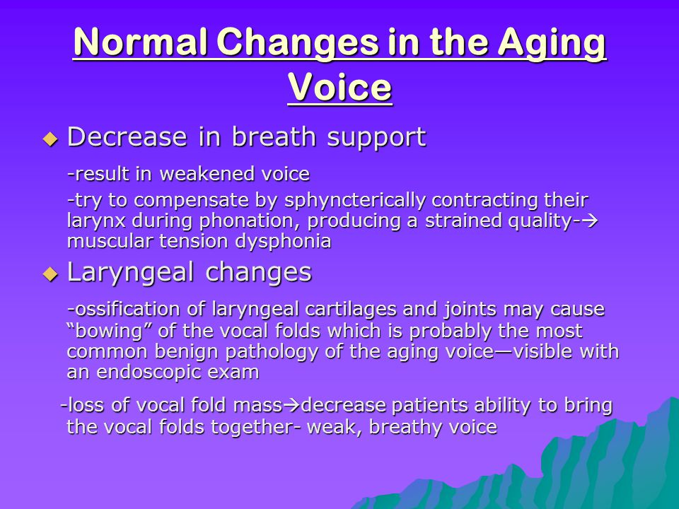 Young vs. Aged vocal folds  Young (healthy)  Aged