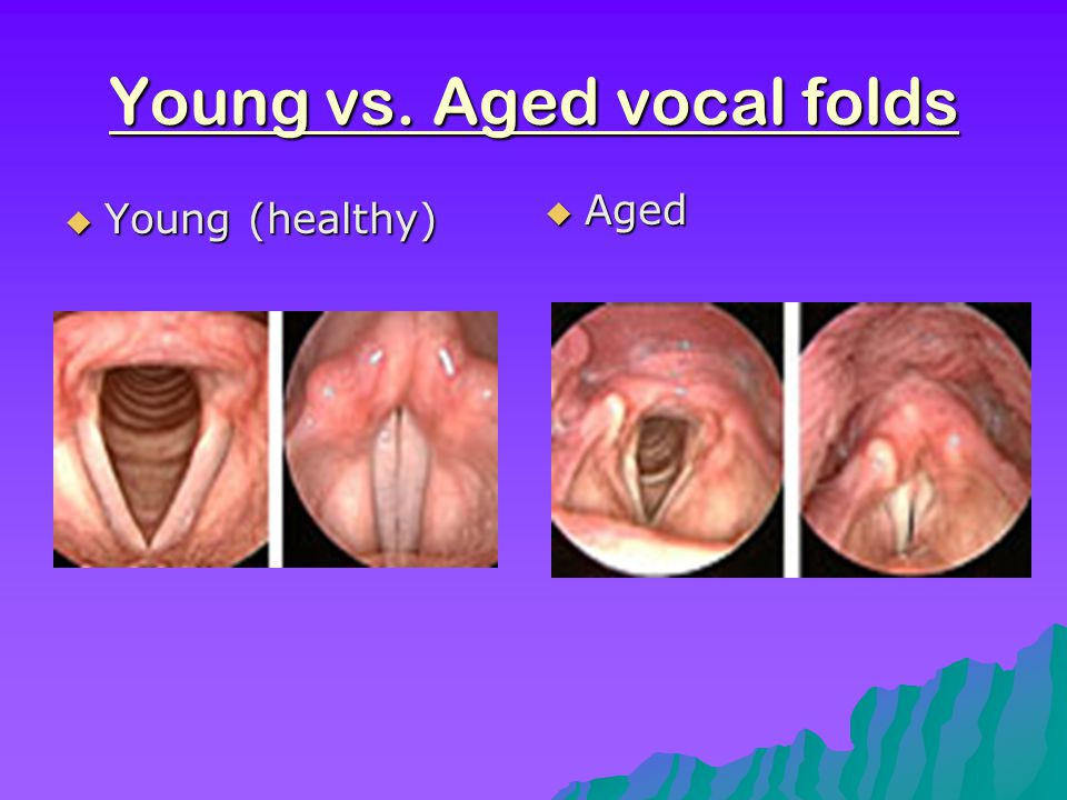 Normal Changes Con't  Other changes… -changes in the cricoarytenoid due to aging may account for some of the pitch variability -men, beginning in the 60's and each decade after-vocal cords become thin and atrophied resulting in a higher pitched conversational voice -women, pitch seems to get lower through life—vocal cords may become more polypoid after menapause due to estrogen deprivation which causes substantial changes in mucous membranes that line the vocal tract