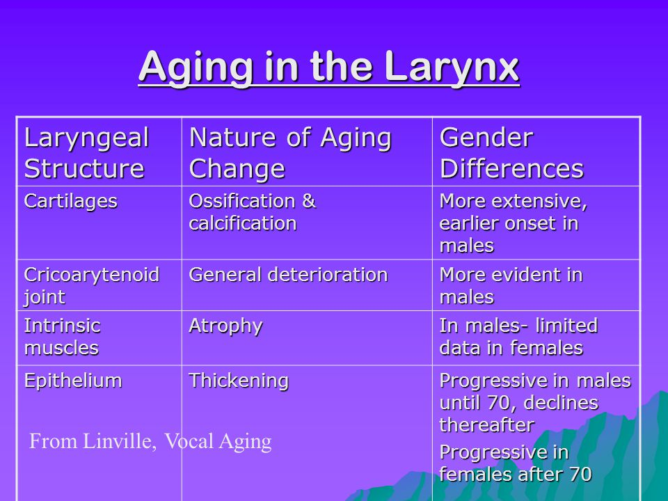 Perceptual Age-related changes MaleFemale Determine age from voice sample XX Classify into age groups XX Pitch changes XX Hoarseness XX Breathy XX Slow rate XX