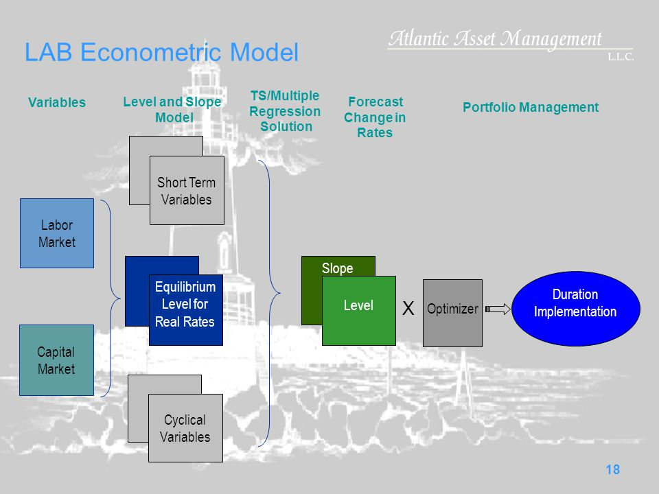 18 LAB Econometric Model Variables Labor Market Capital Market X Optimizer Duration Implementation Slope Level Short Term Variables Equilibrium Level for Real Rates Cyclical Variables Level and Slope Model TS/Multiple Regression Solution Forecast Change in Rates Portfolio Management