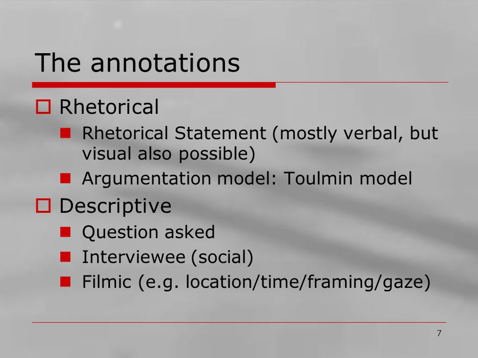 8 Encode statements  Statement formally annotated: E.g.