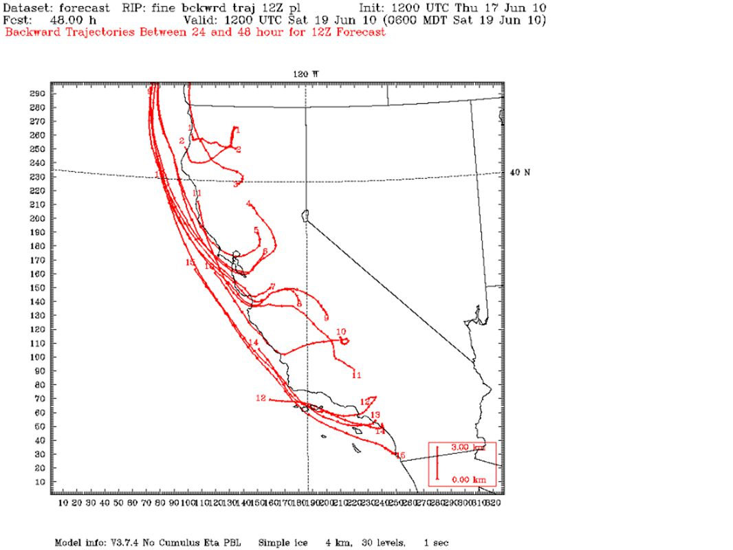 RH Vertical Cross Section SF - Tahoe http://orthus.arb.ca.gov/calnex/forecast/nam _mm5_forecast.html Initialized 12 Z Thu Jun 17