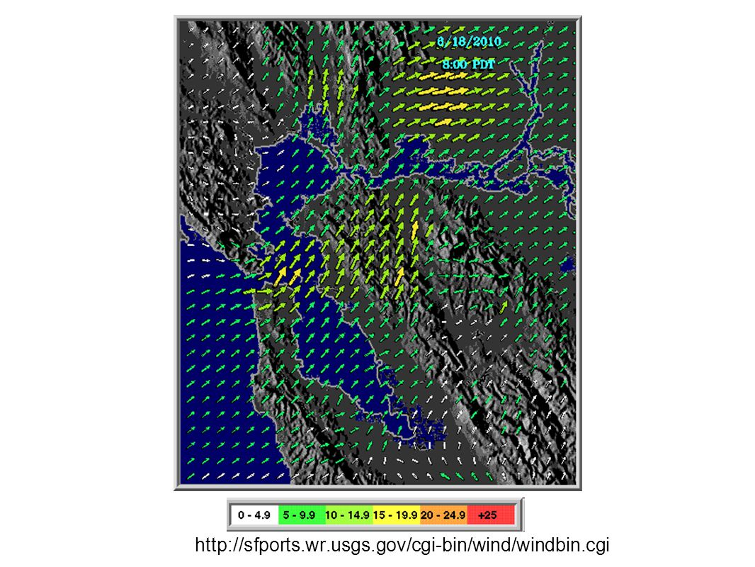 North SF Bay surface tracer release Concentrations at 205m sigma-level COAMPS Initialized 00 Z Thursday