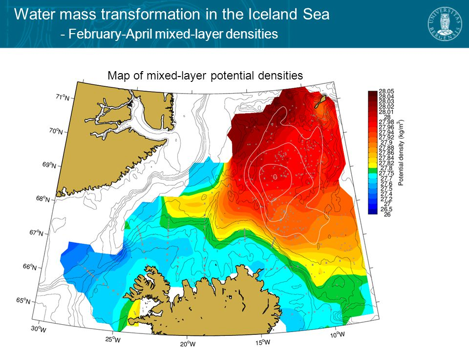 Water mass transformation in the Iceland Sea - convection in the north-central Iceland Sea Profiles located within the north-central Iceland Sea