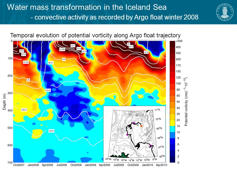 Water mass transformation in the Iceland Sea - the densest component of the North Icelandic Jet Profiles at the outer end of the Langanes section Langanes repeat hydrographic section Langanes 6