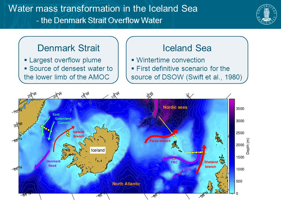 Water mass transformation in the Iceland Sea - overturning circulation schemes  Formed in the Iceland Sea (Swift et al., 1980)  Transformation within boundary current loop (Mauritzen, 1996)