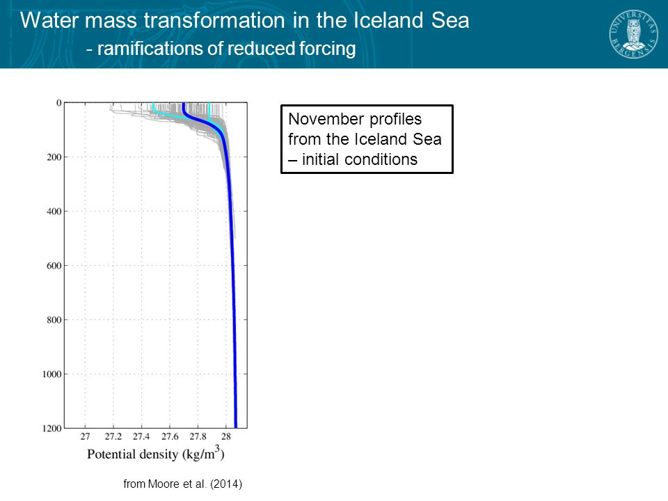 Water mass transformation in the Iceland Sea - ramifications of reduced forcing 1D mixed-layer model in the Iceland Sea from Moore et al.