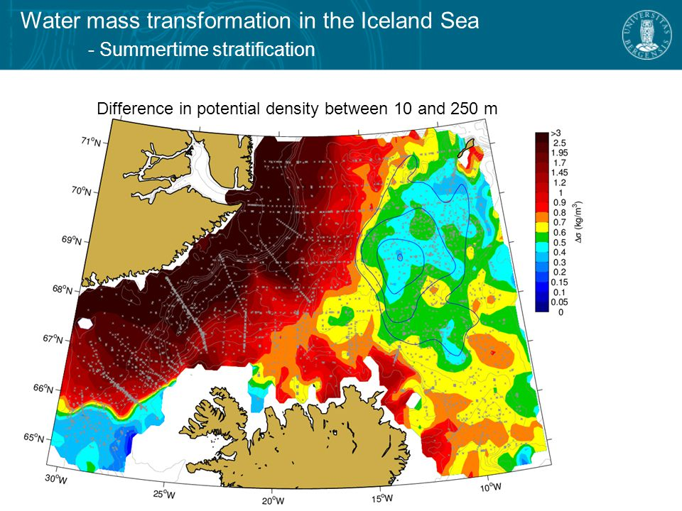 Water mass transformation in the Iceland Sea - June-August mixed-layer densities Map of mixed-layer potential densities