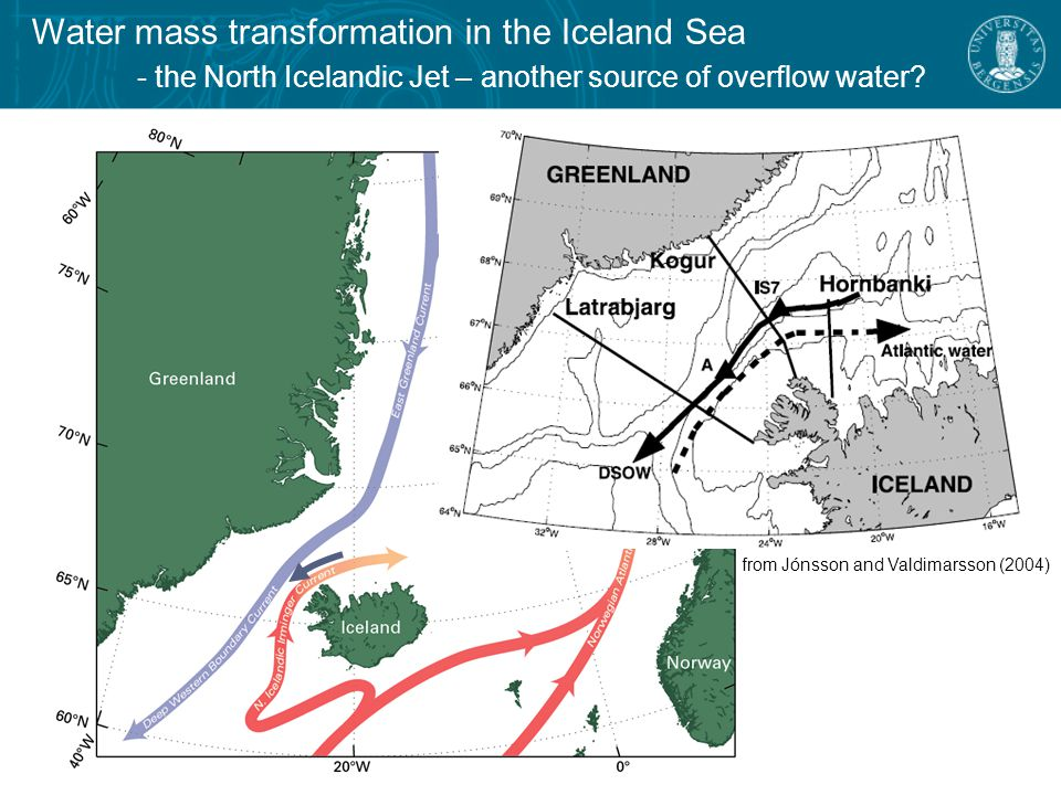 Water mass transformation in the Iceland Sea - overturning circulation schemes  Formed in the Iceland Sea (Swift et al., 1980)  Transformation within boundary current loop (Mauritzen, 1996)  Transformation within interior loop (Våge et al., 2011)