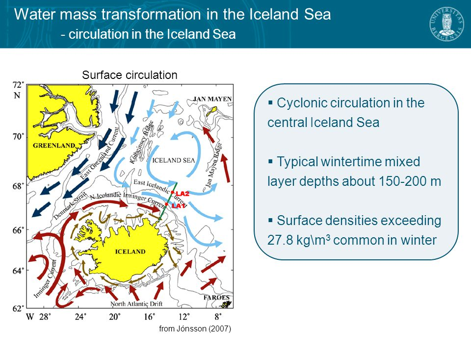 Water mass transformation in the Iceland Sea - historical hydrographic measurements in the Iceland Sea Collection of historical hydrographic measurements (1980 - present) Determination of mixed- layer depth and properties  visual inspection of all profiles  automated detection routines employed  manually determined when those failed → robust data set