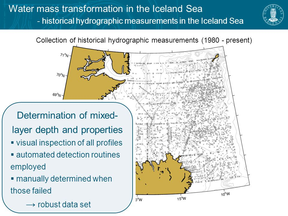 Water mass transformation in the Iceland Sea - February-April mixed-layer depths Map of mixed-layer depths