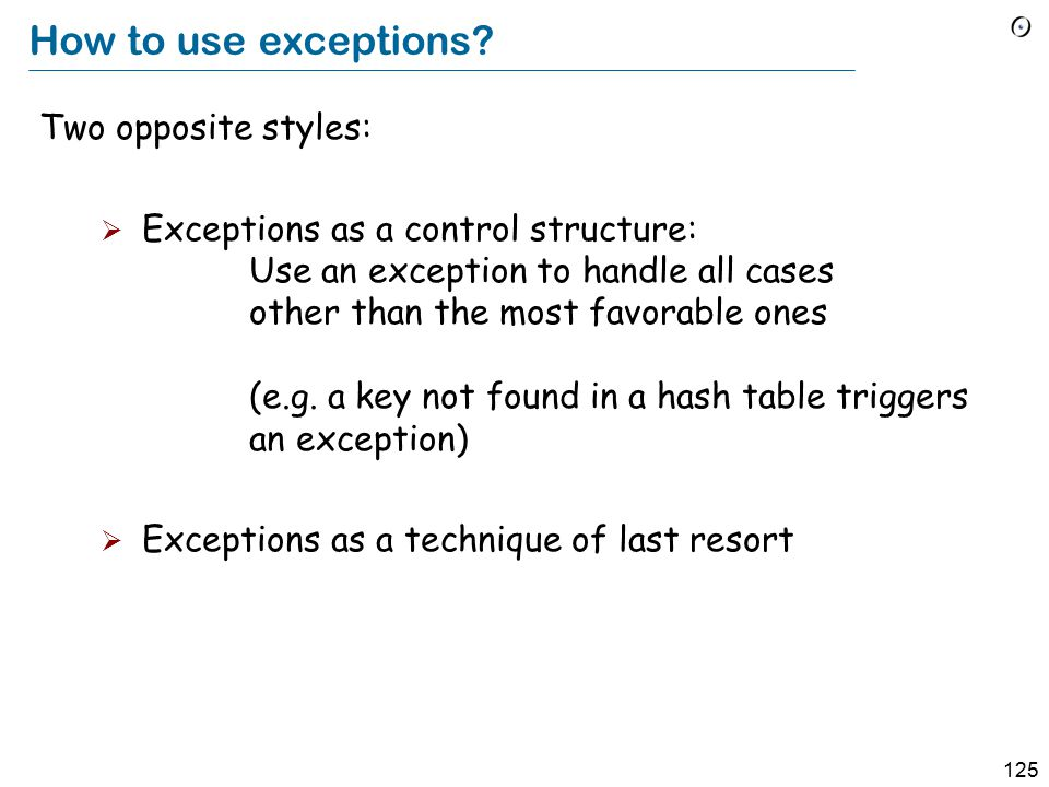 125 How to use exceptions.