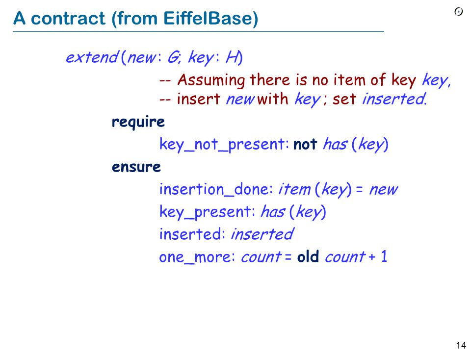 14 A contract (from EiffelBase) extend (new : G; key : H) -- Assuming there is no item of key key, -- insert new with key ; set inserted.
