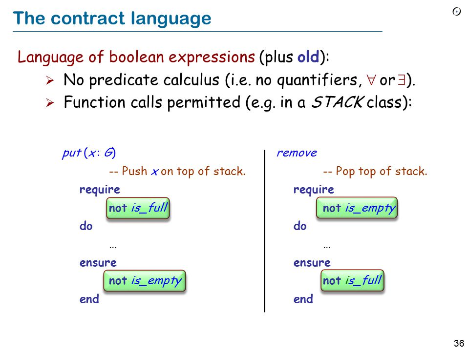 36 The contract language Language of boolean expressions (plus old):  No predicate calculus (i.e.
