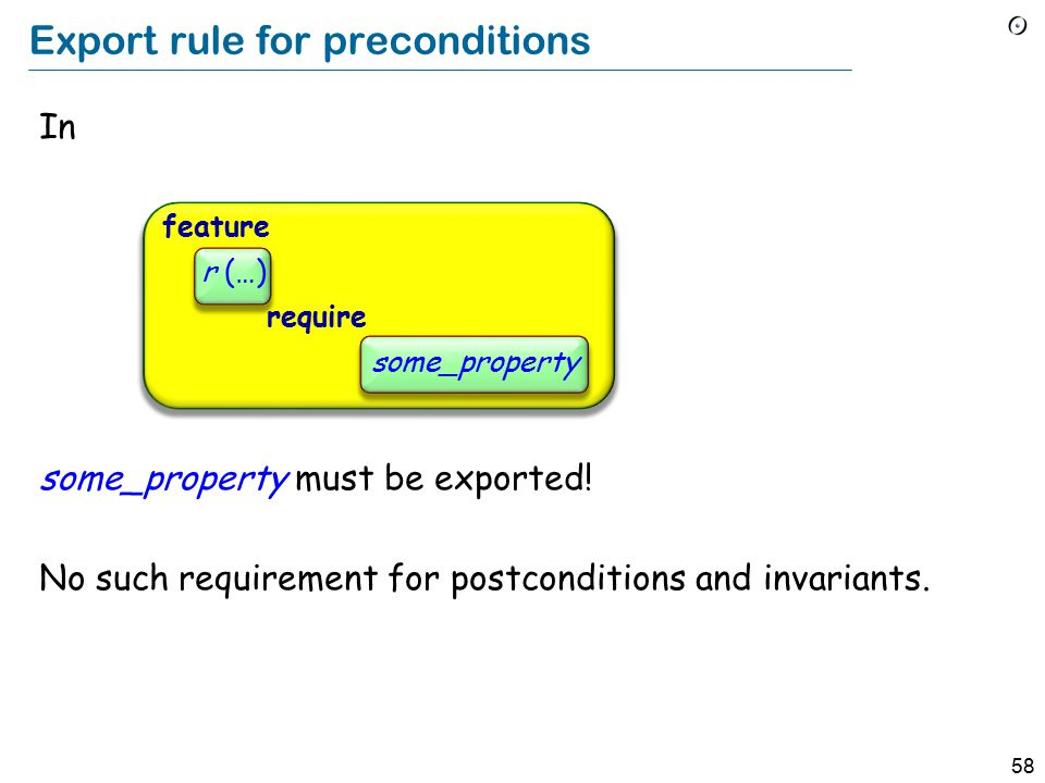 58 Export rule for preconditions In some_property must be exported.